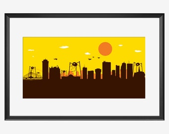 Winnipeg skyline print, Winnipeg Manitoba, Winnipeg art, Winnipeg print, Winnipeg poster, War of the worlds inspired print, Aliens print art