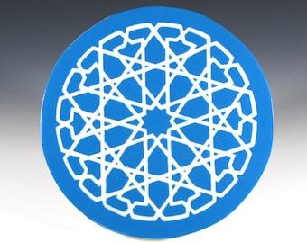 Turquoise Blue Ceramic Trivet - Blue and White - Art Tile - Moroccan Tile - Handmade Tile - Decorative Tile Art - Hot Plate - Round Trivet