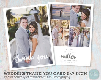 Wedding Thank You Card - Photoshop template - AW023 - INSTANT DOWNLOAD