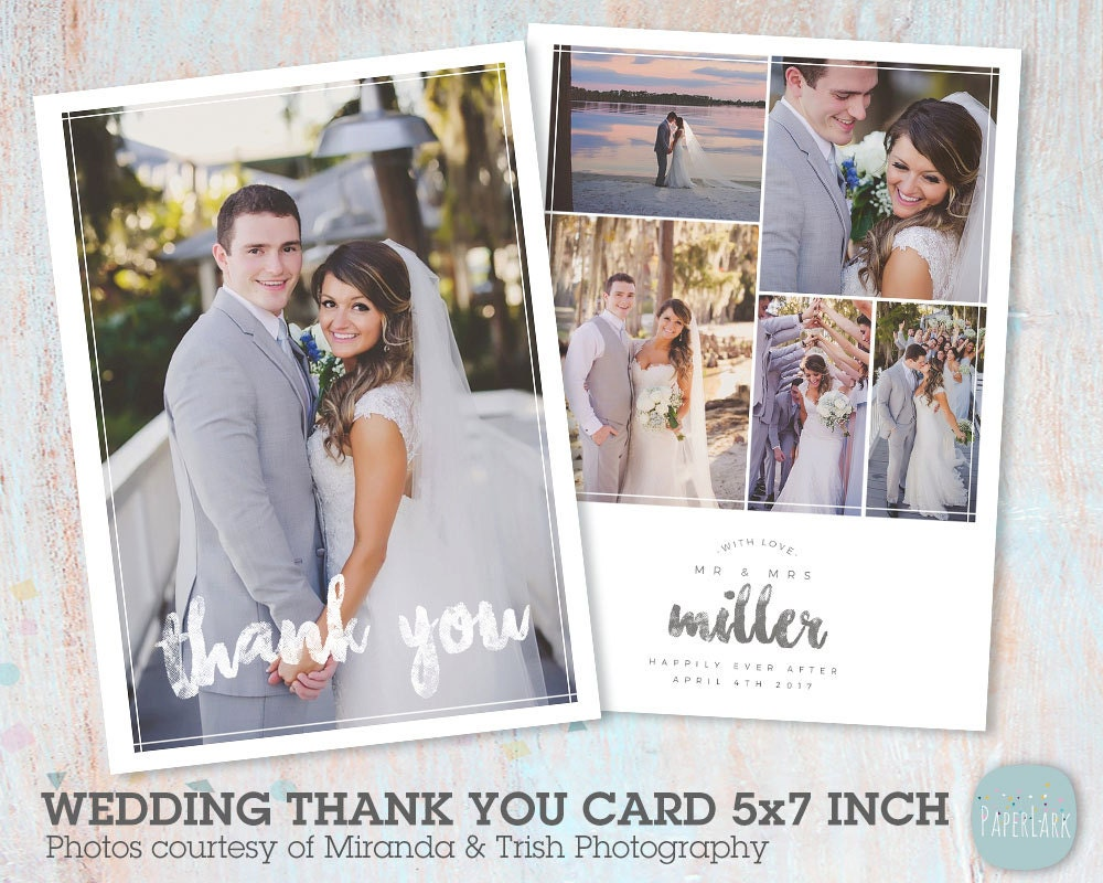 Wedding Thank You Card Photoshop Template AW023 INSTANT