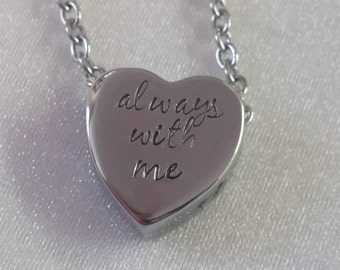 Cremation Urn - Urn Necklace - Remembrance Keepsake - Urn Jewelry - Ashes Locket - Hand Stamped - Ashes Keepsake - Sympathy Gift - Heart Urn