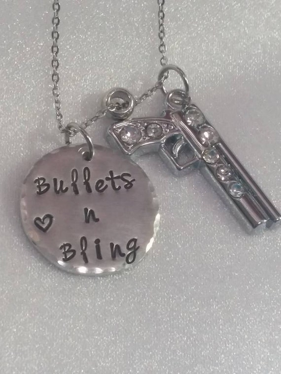 Bullets n Bling Necklace - Gun Jewelry - Hand Stamped - Pistol Necklace - Second Amendment - Women and Weapons - Pistol Pendant - Gun Charm