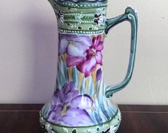 Nippon Moriage Ewer Pitcher Hand Painted Vintage