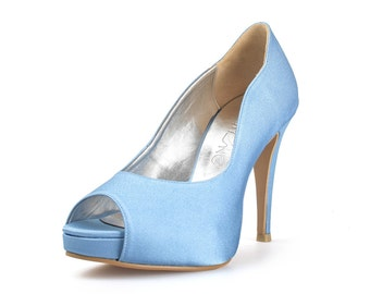 Kimberly Baby Blue Custom Made Heels, Custom Made Satin Heel, Something Blue Peep Toe Pumps, Bespoke Wedding Shoe