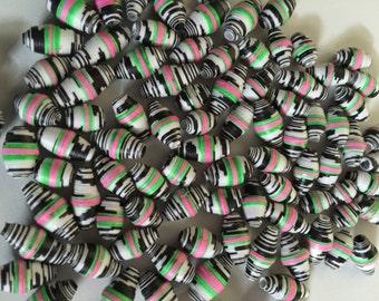 94ct. Neon Zebra Paper Beads