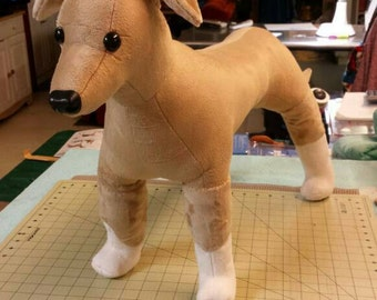 Whippet or Greyhound. Large tall dog stuffed plush . Dog memorial. Mannequin for dog clothes.