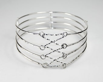 Hallmarked 925 Sterling Silver Four Strand Laced Corset Bangle