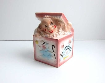 EO Brody Pottery Ceramic Pink Clown Jack-in-the Box Baby Nursery Planter