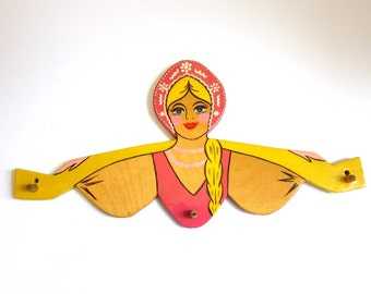 Vintage Russian Folk Art Village Girl Lacquer Wood Wall Hook - Ukraine Hand Painted Pink Yellow Girl Carrying Water