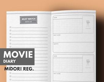 Midori Inserts Movie Printable, Midori Pages Movie, Midori Refill, Movie List, Favorite Movie Diary, Midori Traveller's Notebook Regular