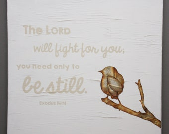 Exodus 14:14 Wall Art | The Lord will fight for you | Christian Wall Art | Square format