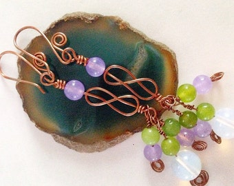 Gemstone & Celtic Knot Long Handmade Copper Earrings