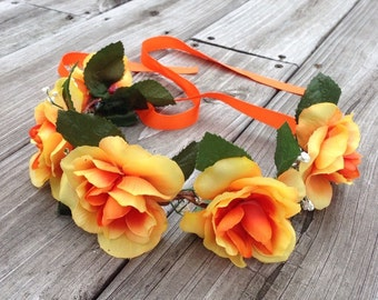 Sunset Flower Crown Wreath Circlet Festival Bridal