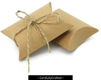 Set of 10, 20, 30 - Kraft Pillow Boxes - 9cm x 6.5cm - Perfect for gifts, weddings and more!