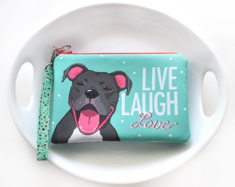 Pitbull Terrier Padded Art Pouch- Live, Laugh, Love