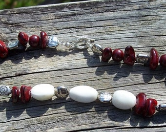 Chunky 'Berry & Cream' Beaded Necklace, Statement Necklace, Collar Necklace