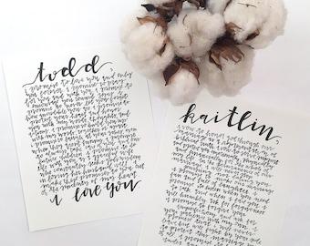 """Handwritten Wedding Vows - Custom Wedding Art - 8"""" x 10"""" Wall Art"""