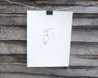 Horse drawing, original abstract art