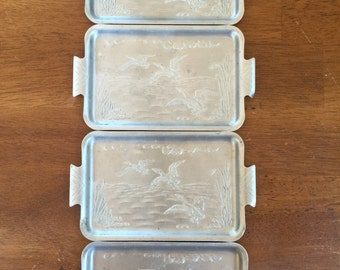 Snack Set of 4 Hammered Tin Appetizer Serving Plates with Waterfowl