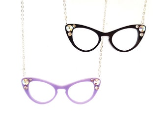 Cat Eye Glasses Necklace