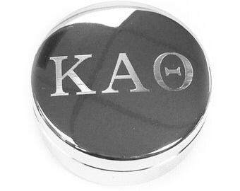 kappa alpha theta letter round pin box hand engraved