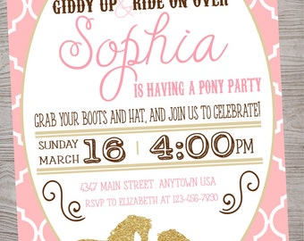 Vintage Pony / Horse  Birthday Baby Shower Party invitation printable