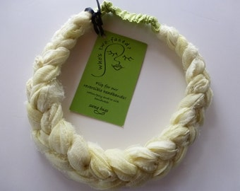 Lemon fizz sari silk chiffon braided headband - a refreshing creamy yellow mix with chartreuse silk dupioni - covered elastic