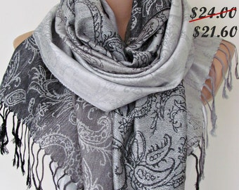 Gray Pashmina Scarf Oversize Scarf Fall Winter Scarf Large Scarf Women Fashion Accessories Holiday Christmas Gift Ideas For Her