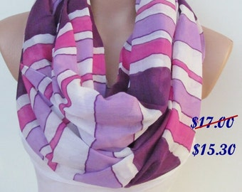 Pink Lilac and Purple Striped Scarf-Infinity Loop Scarf-Circle Scarf-Shawl Scarf-Cowl Tube Scarf- Accessories- Gift-New Season