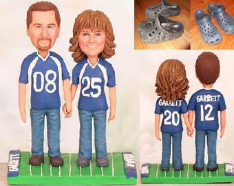 Bride and Groom in Royal Blue Jersey and Crocs Cake Topper - Personalised wedding cake topper (Free shipping)