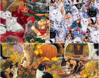 Kitty Cat Seasons Digital Print Cotton Fabric by David Textiles! [Choose Your Cut Size]