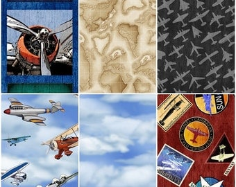Aviator Airforce Plane Lover Cotton Fabric by Quilting Treasures! 6 Options! [Choose Your Cut Size]