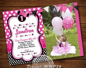 Pink Minnie Mouse Birthday Invitation,Chevron Invitation, Polka Dot, Diy Printable Invitation, Minnie Mouse Birthday Party, Minnie Mouse