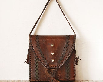 Old Leather Purse Handbag, Dark Brown Vintage Bag, Leather Vintage Shoulder Bag
