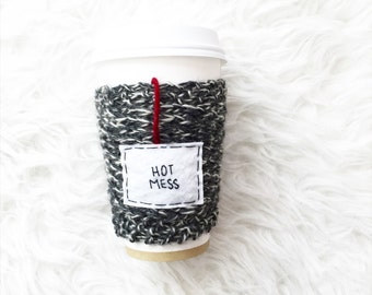 Gray Travel Mug Cozy, Gift Knitted, Coffee Travel Mug, Knitted Coffee Sleeve, Onana Mug Cozy, Knit Cozy, Personalized Cozy, Womens Gift