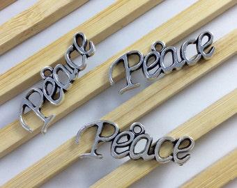 30Pcs(28mm*10mm) Antique Silver Peace Charms ,Peace Pendants