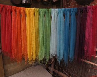 Naturally dyed 100% mulberry silk scarves - super soft ethically traded rainbow colours