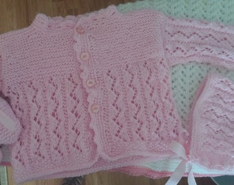 Pink Baby Sweater, hat and booties 3-6 months.