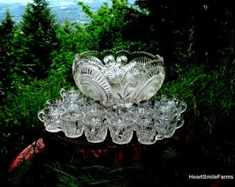 EAPG US Glass Co. Slewed Horseshoe Radiant Daisy Punch Bowl Set with 15 cups - Pattern #15111 Punch Bowl Set - Antique US Glass Co Punch Set