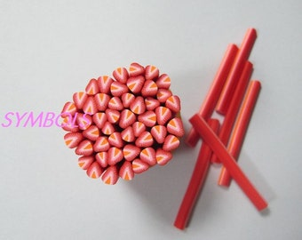 A-13 5PCS Strawberry Polymer Clay Cane Stick DIY Accessory