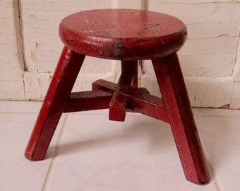 Vintage Red Wood Stool Distressed Wooden Bench Home Decor Country Cottage Farm House