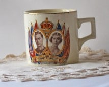 1937 Vintage Cup Coronation of H.M. King George VI and H.M. Queen Elizabeth.  Made in England