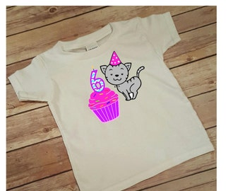 Birthday shirt, Birthday Girl Shirt Birthday Kitten Cupcake Birthday Tee, little girl birthday, kitten shirt,