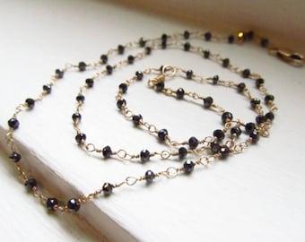 Black diamond necklace rosary style genuine raw diamond