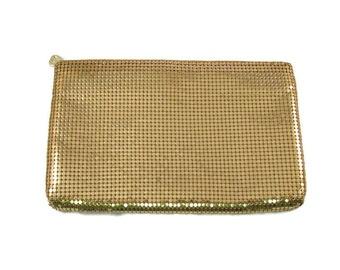 Whiting & Davis Gold Mesh Large Zippered Clutch Purse Handbag