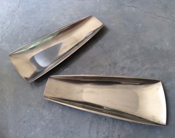 Pierre Forssell Designed Stainless Steel Serving Trays Pair