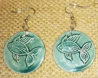 Ceramic fish pattern earrings