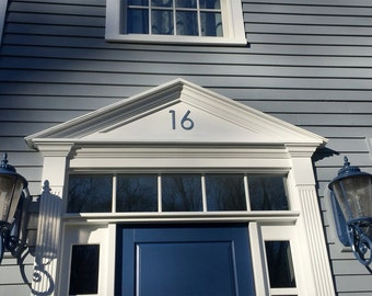 "Architectural house numbers  in polished or hammered pewter, 2  x 150mm/6"" high Century Gothic font e"