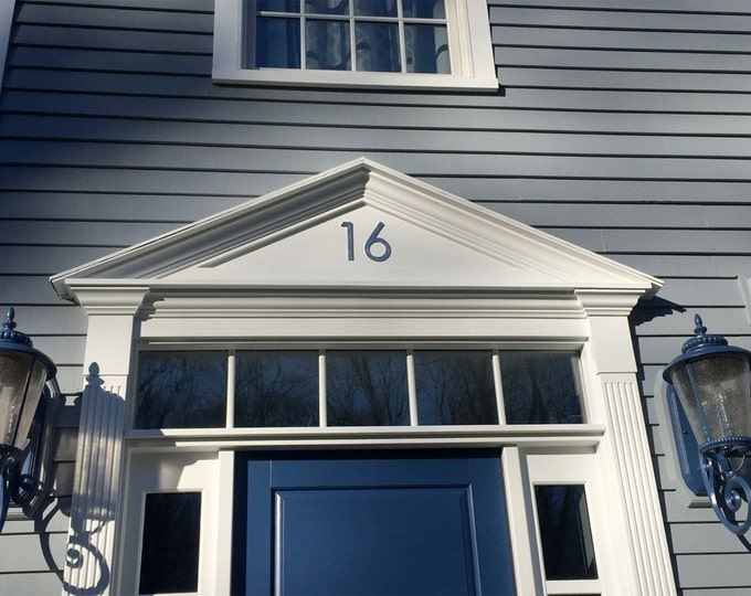 "Architectural house numbers  in polished or hammered pewter, 2  x 150mm/6"" high Century Gothic font"