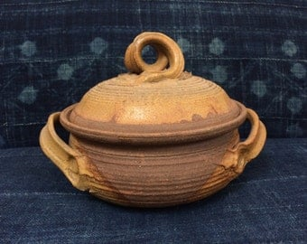 Vintage 1970's Hand Thrown Ceramic Earth Tone Serving Casserole